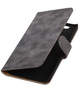 Hoesje voor Huawei Nexus 6P - Mini Slang Grijs Booktype Wallet