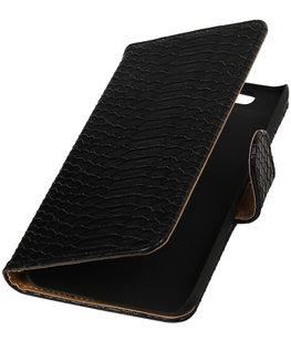 Hoesje voor Huawei Nexus 6P - Slang Zwart Bookstyle Wallet