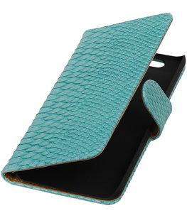Hoesje voor Huawei Nexus 6P - Slang Turquoise Bookstyle Wallet