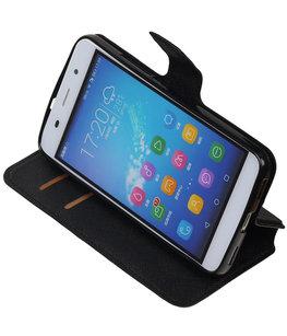 Zwart Hoesje voor Huawei Honor Y6 / 4A TPU wallet case booktype HM Book
