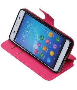 Roze Hoesje voor Huawei Honor Y6 / 4A TPU wallet case booktype HM Book