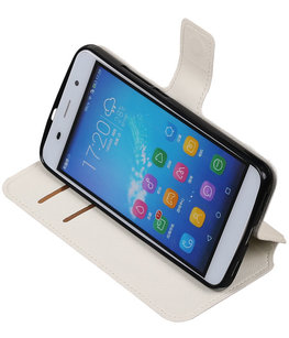 Wit Hoesje voor Huawei Honor Y6 / 4A TPU wallet case booktype HM Book
