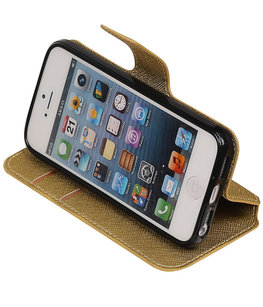 Goud Hoesje voor Apple iPhone 5 / 5s / SE TPU wallet case booktype HM Book