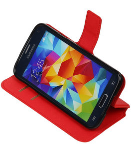 Rood Hoesje voor Samsung Galaxy S5 TPU wallet case booktype HM Book