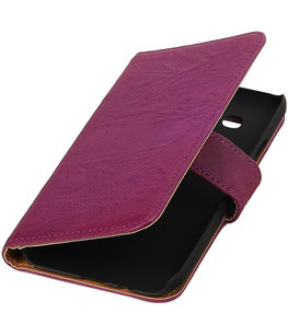 Echt Leer Bookcase Paars - Hoesje voor Samsung Galaxy E5