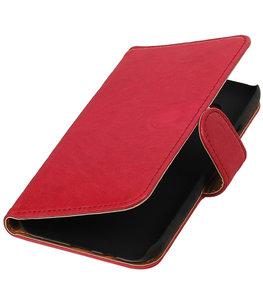 Echt Leer Bookcase Roze - Hoesje voor Samsung Galaxy E5