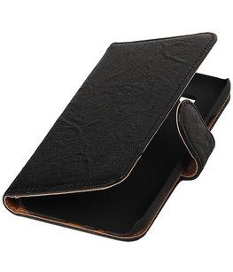 Echt Leer Bookcase Zwart - Hoesje voor Samsung Galaxy E5