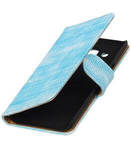 Turquoise Mini Slang booktype wallet cover voor Hoesje voor LG K4