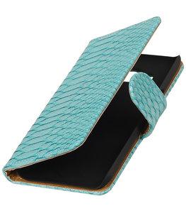 Turquoise Slang booktype wallet cover voor Hoesje voor LG K4