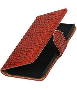 Rood Slang booktype wallet cover voor Hoesje voor LG K4