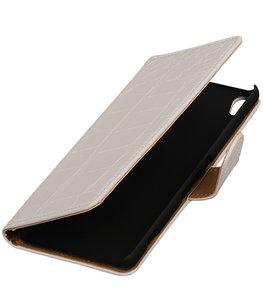 Wit Krokodil booktype wallet cover voor Hoesje voor LG X screen
