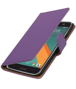 Paars Effen booktype wallet cover voor Hoesje voor HTC 10