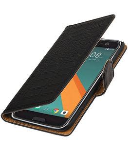 Zwart Krokodil booktype wallet cover voor Hoesje voor HTC 10