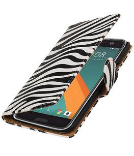 Zebra booktype wallet cover voor Hoesje voor HTC 10