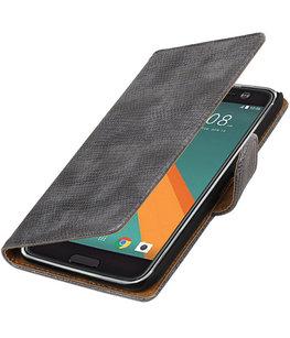 Grijs Mini Slang booktype wallet cover voor Hoesje voor HTC 10