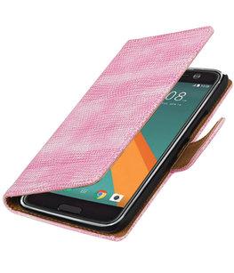 Roze Mini Slang booktype wallet cover voor Hoesje voor HTC 10