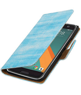 Turquoise Mini Slang booktype wallet cover voor Hoesje voor HTC 10