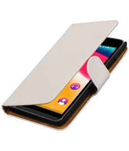 Wit Effen booktype wallet cover voor Hoesje voor Wiko Rainbow Jam