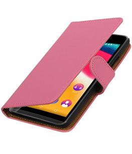 Roze Effen booktype wallet cover voor Hoesje voor Wiko Rainbow Jam