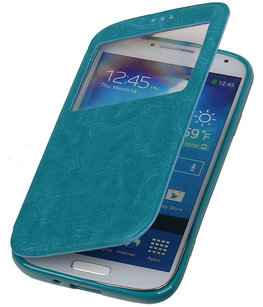 Polar View Map Case Turquoise Hoesje voor Samsung Galaxy S5 TPU Bookcover