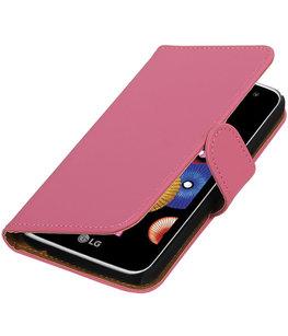 Roze Effen booktype cover voor Hoesje voor LG K4