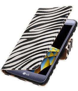Zebra booktype wallet cover voor Hoesje voor LG X Cam