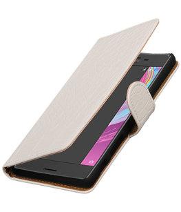 Wit Krokodil booktype cover voor Hoesje voor Sony Xperia X Performance