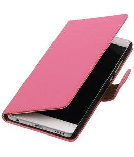 Roze Effen booktype wallet cover voor Hoesje voor HTC One X