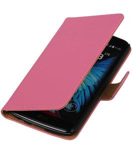 Roze Effen booktype wallet cover voor Hoesje voor LG K8