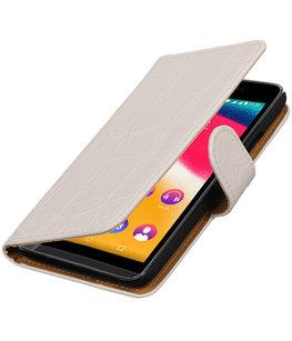 Wit Krokodil booktype wallet cover voor Hoesje voor Wiko Pulp 4G