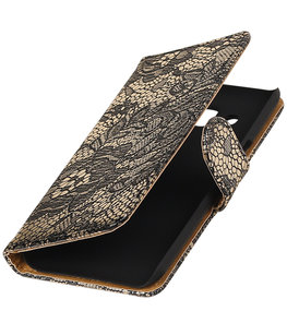 Zwart Lace booktype wallet cover voor Hoesje voor Huawei P9 Plus
