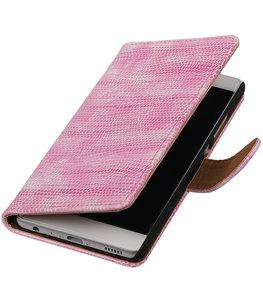 Roze Mini Slang booktype wallet cover voor Hoesje voor Huawei P9 Plus