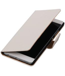 Wit Effen booktype wallet cover voor Hoesje voor Huawei P9 Plus