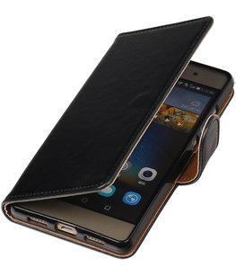 Zwart Pull-Up PU booktype wallet cover hoesje voor Huawei P9 Plus
