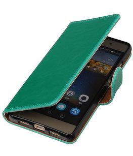 Groen Pull-Up PU booktype wallet cover voor Hoesje voor Huawei P9 Plus