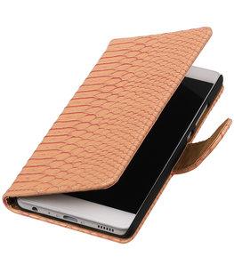 Roze Slang booktype wallet cover voor Hoesje voor Huawei P9 Plus