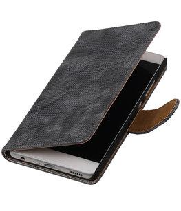 Grijs Mini Slang booktype wallet cover voor Hoesje voor Huawei Y3 II