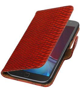 Rood Slang booktype wallet cover voor Hoesje voor Motorola Moto G4 / G4 Plus