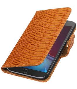 Bruin Slang booktype wallet cover voor Hoesje voor Motorola Moto G4 / G4 Plus
