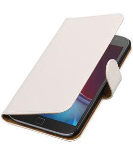 Wit Effen booktype wallet cover voor Hoesje voor Motorola Moto G4 / G4 Plus