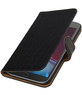 Zwart Krokodil booktype wallet cover voor Hoesje voor Motorola Moto G4 / G4 Plus
