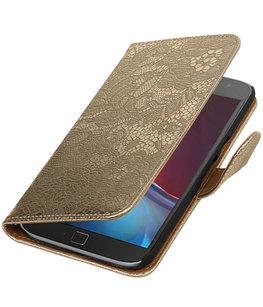 Goud Lace booktype wallet cover voor Hoesje voor Motorola Moto G4 / G4 Plus
