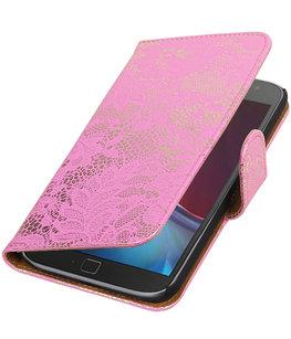 Roze Lace booktype wallet cover voor Hoesje voor Motorola Moto G4 / G4 Plus