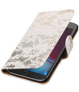 Wit Lace booktype wallet cover voor Hoesje voor Motorola Moto G4 / G4 Plus