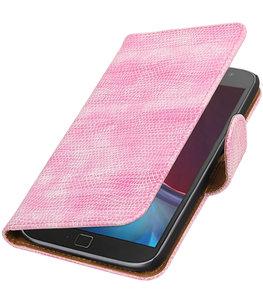 Roze Mini Slang booktype wallet cover voor Hoesje voor Motorola Moto G4 / G4 Plus