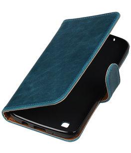 Blauw Pull-Up PU booktype wallet cover voor Hoesje voor LG K8