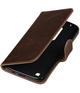 Mocca Pull-Up PU booktype wallet cover voor Hoesje voor LG K8