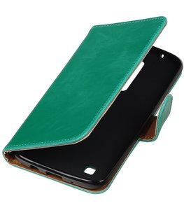 Groen Pull-Up PU booktype wallet cover voor Hoesje voor LG K8