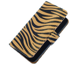 Bruin Zebra booktype wallet cover voor Hoesje voor HTC One S