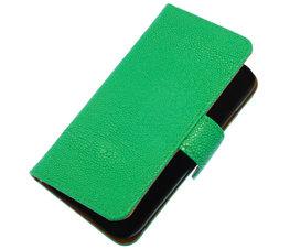 Groen Ribbel booktype wallet cover voor Hoesje voor HTC One S